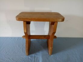 Old Antique French Solid Oak Small Stool Original Milking Seat Chair