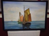 LARGE ORIGINAL OIL PAINTING DEPICTING TWO SAILING BOATS TIED UP AT ANCHOR, DATED 1969