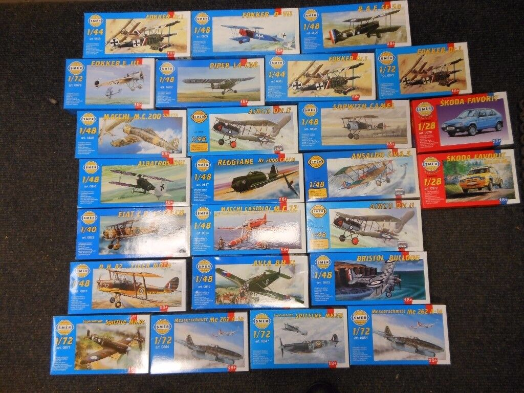 25 brand new model plastic airplane kits by smer. each one is a different type of plane