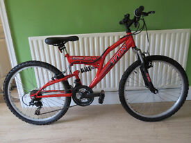 """GREAT BOYS MOUNTAIN BIKE.""""TRAX TFS 24"""".24"""" WHEELS,FULL SUSPENSION..EXCELLENT CONDITION,READY TO RIDE"""