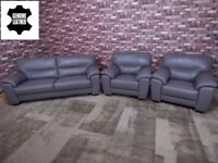 QUALITY EX DISPLAY 'SHADES' 3 SEATER & 2 ARMCHAIRS 100% LEATHER IN ELEPHANT GREY SOFAS/SETTEES/SUITE