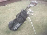 Golf clubs - Ping Driver, Ping 3 Wood, Ping Irons, Ping Putter, Ping Golf Bag plus Gloves, balls etc