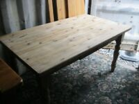 VINTAGE ORNATE LONG SOLID PINE FARMHOUSE TABLE. USEFUL DRAWER. VIEWING/DELIVERY AVAILABLE