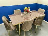 🍒🔥🔥BEST SALES🔥🔥ON FIERY EXTENDABLE DINING TABLE WITH 6 CHAIRS
