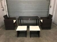 FREE DELIVERY OUTSUNNY BROWN GARDEN RATTAN GLASS TOP TABLE, 2 CHAIRS & 2 STOOLS GREAT CONDITION