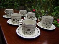 Tea / coffee cups with saucers, set of six , Cornrose by Hornsea