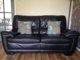 2 seater brown leather sofa, brown leather chair and footstool