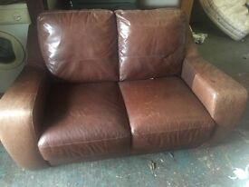 Real LEATHER SOFA LOOKS WORN VERY FIRM AND COMFY