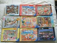 9 'Ravensburger' 1,000 piece Jigsaws. incl'g 2 'What If?' and a 'Higglety Pigglety House'