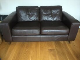 Dark brown 2 seater leather sofa and armchair