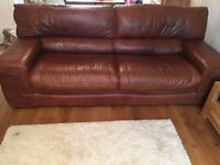 Pair of large 8ft brown leather sofa