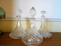 glass crystal cut decanters x3.