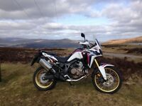 Honda CRF1000L Africa Twin, c/w Honda side panniers, centre stand, 12v socket and heated grips.
