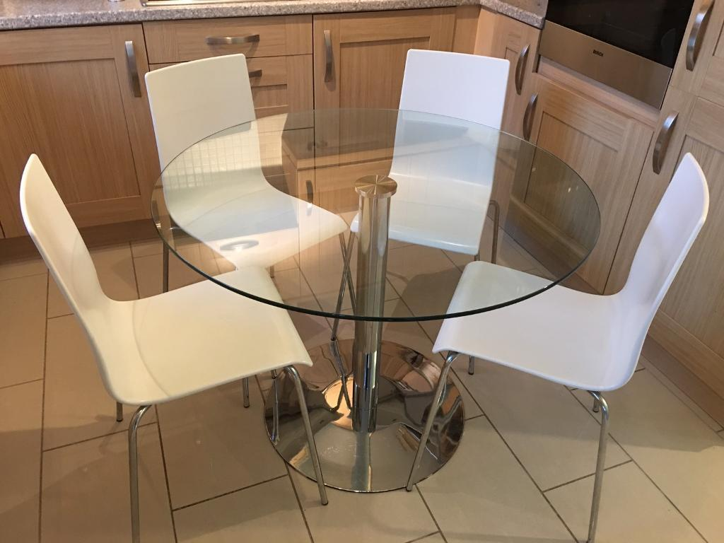 John Lewis Enzo Glass Dining Table With 4 Acrylic Chairs