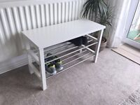 IKEA TJUSIG - SHOE RACK WITH BENCH IN WHITE AND BRUSHED STEEL - LAST ONE REMAINING