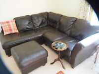 Leather corner unit and foot stool