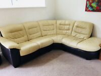 Leather Corner Sofa - Swivel Chair - Footstool
