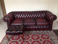 Oxblood chesterfield 3 seater and matching footstool