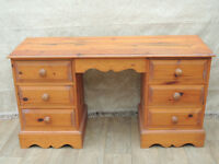 Welsh Pine heavy duty desk with 7 drawers (Delivery)