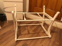 Mothercare white rocking Moses basket stand.