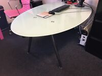 Glass oval table, ideal as dining table or desk. 2 available (price each or make offer)