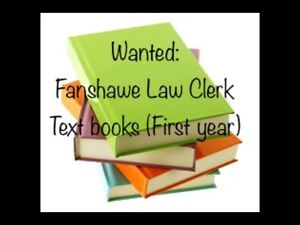 Wanted: Fanshawe Law Clerk First Year Textbooks
