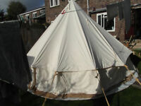 4 meter canvas bell tent comes with ground sheet, pegs and storage holdall