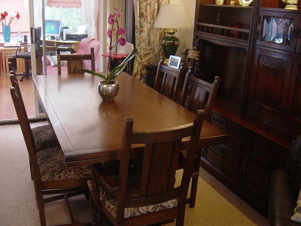 Old Charm Extending Refectory Table And Six Chairs In Fulwood Lancashire
