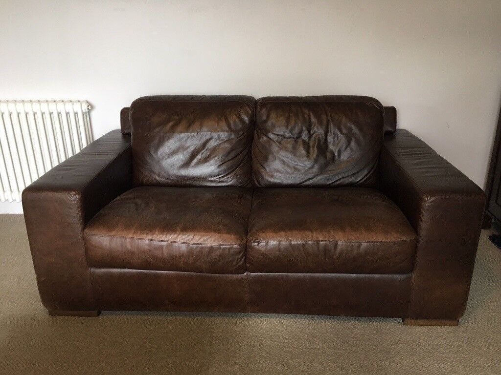 Brown Leather sofas, 2 and 3 seater