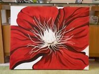 Beautiful *Hand-Painted* Red Flower Floral Painting Canvas Art Decor (Large - 100x80cm)