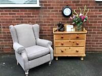 Tweed NEXT SHERLOCK Wingback Armchair Chair Wood Feet Tartan Checked