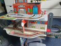 Large wooden train station and accessories