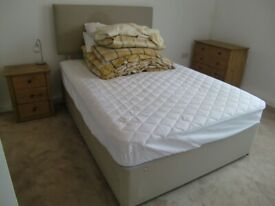 Divan Double Bed with 4 Drawers, Headboard, Mattress and Bedding