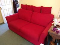 Sofa set red, very good condition (1x 4 seater + 2x setee)