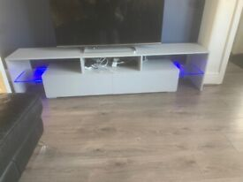 TV/MEDIA STAND, GREY WITH HIGH GLOSS DRAWS, GLASS SHELVES, AND LED LIGHTS