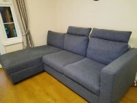 IKEA Vimle Sofa, footstool with headrest and storage
