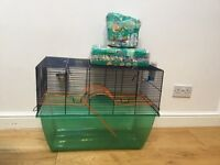 Gerbil/hamster cage and toys