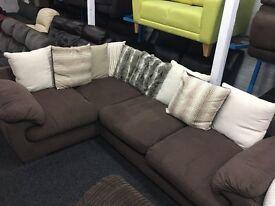 NEW / Ex Display Dfs Brown Fabric Corner Sofa