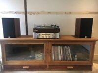 Long display cabinet, glass doors with drawers, perfect for hifi/tv stand.