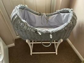 Moses basket, baby bath and swaddle