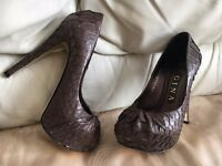 GINA designer £700 real python skin shoes heels uk 3.5