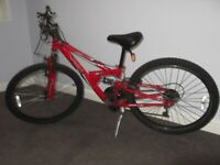 Apollo FS-24, 24 inch, 18 speed, Red, mountain bike just serviced and tuned, comfort ride. £90.00.
