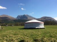 Part- time Cleaner for yurts and chalets.