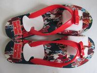 NEW Kate Spade holiday wear slippers flip flops - bow gold spade pendant detail UK 6 / EU Size 39