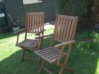 Two Good Quality Sturdy Teak Garden Armchairs Good Condition