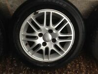Mk1 Ford Focus 4 stud 15 inch alloy wheels and tyres set of 4