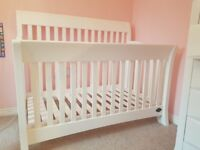 Set of childrens Bonavita bedroom furniture. Consists of cot bed, wardrobe and set of drawers