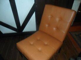 PARKER KNOLL retro orange leathrette cocktail chair,