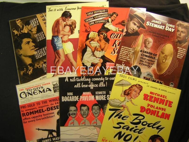 7 1950s Movie Photo Magazine Laminated Promo Ad Page Lot OS22