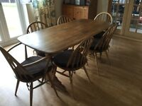 ERCOL Oak Refectory Dining Table with 2 Carvers and 4 Chairs